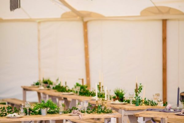 relaxed marquee and tipi dining